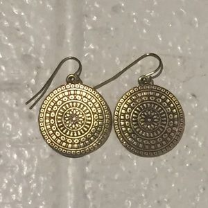 Bohemian Aztec Bronze Dangle Earrings Hippy Circle